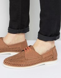 Frank Wright Woven Boat Shoes In Tan Tan