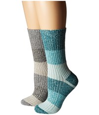 Columbia 2 Pack Marled Stripe Micro Poly Crew Deep Wave Assorted Crew Cut Socks Shoes Multi