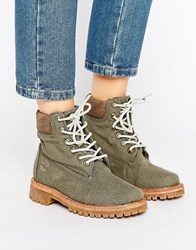 Timberland Fabric 6 Inch Lace Up Flat Boots Silt Green