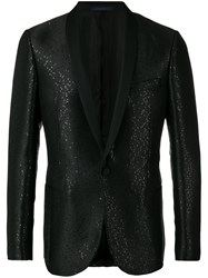 Lanvin Sequin Embroidered Suit Jacket Men Cotton Polyester Cupro Viscose 52 Black