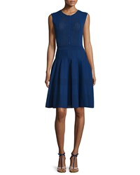 Oscar De La Renta Sleeveless Button Front Knit Dress Marine Blue