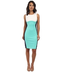 Rsvp Maya Color Block Sheath Dress Ivory Spearmint Women's Dress Blue