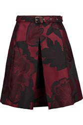 Just Cavalli Belted Pleated Jacquard Mini Skirt Burgundy