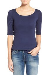 Caslonr Petite Women's Caslon Ballet Neck Cotton And Modal Knit Elbow Sleeve Tee Navy Peacoat