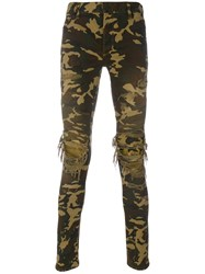 Balmain Distressed Camouflage Trousers Men Cotton Polyurethane 32 Green