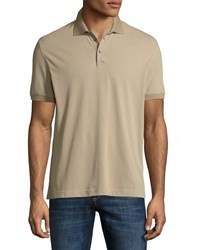 Brunello Cucinelli Solid Pique Polo Shirt Dark Beige