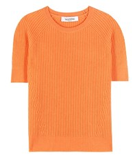 Valentino Cropped Cashmere Sweater Orange