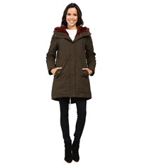 Vince Camuto Faux Fur Trim Parka L1051 Olive Rust Women's Coat
