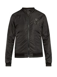 Dolce And Gabbana Crown Embroidered Nylon Bomber Jacket Grey