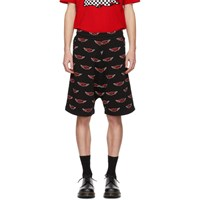 Mcq By Alexander Mcqueen Black All Over Racing Logo Low Shorts