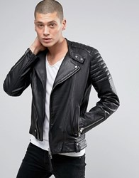 Allsaints Leather Biker Jacket Black