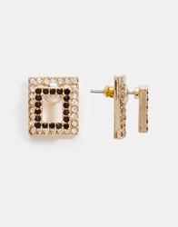 River Island Square Through And Through Earrings Black