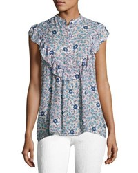 Max Studio Floral Print Ruffled Woven Shirt White Pattern