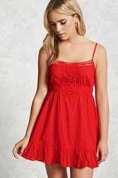 Forever 21 Swiss Dot Cami Dress Red