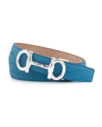 Salvatore Ferragamo Parigi Python Belt Blue Women's