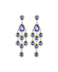 Fragments For Neiman Marcus Crystal Statement Chandelier Earrings Blue