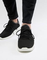 New Look Knitted Detail Trainers In Black
