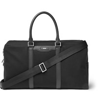 Hugo Boss Signature Leather Trimmed Canvas Holdall Black