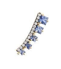 Jemma Wynne Sapphire And Diamond 18Kt Yellow Gold Single Earring Blue