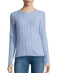 Lord And Taylor Petite Cable Knit Cashmere Sweater Blue Orbit
