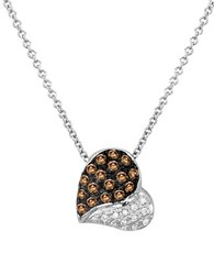 Levian Chocolatier 14K Vanilla Gold Chocolate And Vanilla Diamond Heart Pendant Necklace 0.22 Tcw White Gold