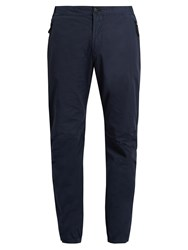 Stone Island Mid Rise Stretch Cotton Straight Leg Trousers Blue