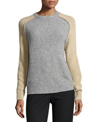 Halston Heritage Wool Cashmere Blend Colorblock Sweater Heather Gray Camel