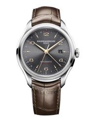 Baume And Mercier Clifton 10111 Dual Time Stainless Steel Alligator Strap Watch Silver Brown