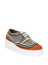 Robert Clergerie Textured Lace Up Sneakers Multi