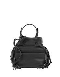 Kenneth Cole Fringe Leather Bucket Bag Black