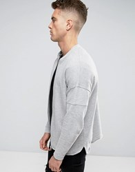 Asos Jersey Bomber Jacket With Sleeve Panels And Curved Stepped Hem Grey Marl