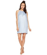 Bishop Young Suede High Neck Shift Blue Women's Dress