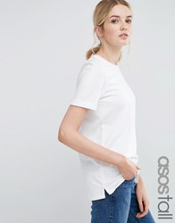 Asos Tall Light Weight Knitted Loop Back T Shirt White