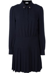 Red Valentino Embellished Collar Shirt Dress Blue