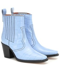Ganni Callie Croc Embossed Ankle Boots Blue