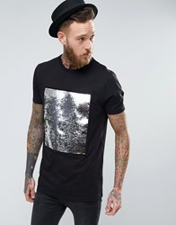 Asos Longline T Shirt With Sequin Front Panel Black