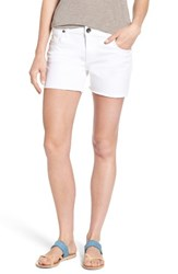Kut From The Kloth Women's Gidget Fray Hem Denim Shorts Optic White
