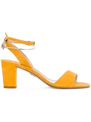 Paul Andrew Ecklund Sandals Women Suede 36 Yellow Orange