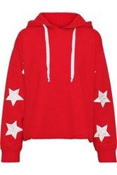 Current Elliott The Cut Cropped Printed Cotton Fleece Hoodie Red