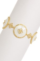 Freida Rothman 14K Gold Plated Sterling Silver Round White Enamel Toggle Bracelet