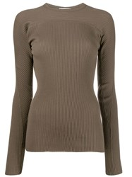 Helmut Lang Ribbed Sweater Green