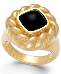 Signature Gold Onyx Rope Ring In 14K Gold 2 Ct. T.W.