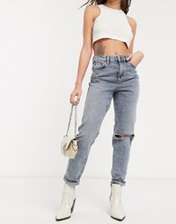 Topshop Ripped Mom Jeans In Smoke Grey