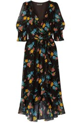 Rachel Zoe Ysabelle Ruffled Floral Print Chiffon Wrap Dress Black