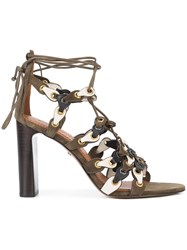 Coach Signature Link Lace Up Sandals Green