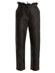 Isa Arfen Gathered Waist Cropped Cotton Blend Trousers Black