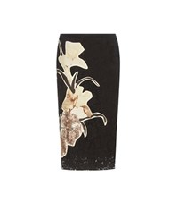 Valentino Lace Skirt With Floral Applique Black