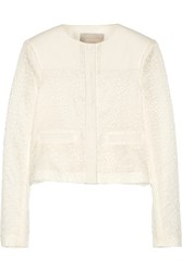 Jason Wu Embroidered Lace And Cotton Blend Jacket White