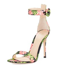 Gianvito Rossi Floral Print Ankle Strap Sandal Red