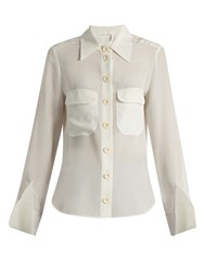 Chloe Point Collar Silk Blouse White